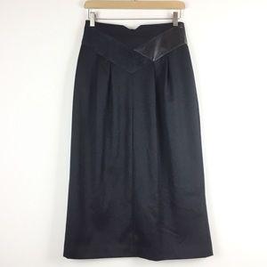 Vintage midi skirt faux suede leather detail V